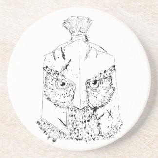 Dessous De Verre En Grès Dessin spartiate de casque de hibou à cornes
