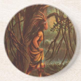 Dessous De Verre En Grès Dessin vintage : Pocahontas, princesse indienne