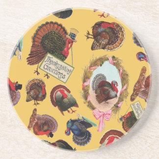 Dessous De Verre En Grès Dindes vintages personnalisables de thanksgiving