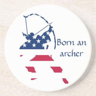 Dessous De Verre En Grès Drapeau américain d'archer de tir à l'arc des