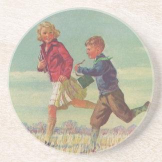 Dessous De Verre En Grès Enfants vintages courant aux livres de transport