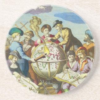 Dessous De Verre En Grès Explorateurs vintages avec la carte antique de