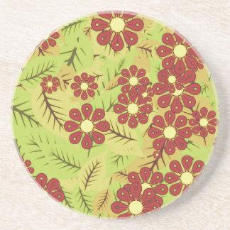Dessous De Verre En Grès Feuillage et fleurs
