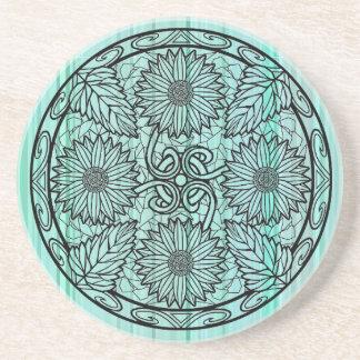 Dessous De Verre En Grès Fleur en pastel bleu-clair de mandala de tournesol
