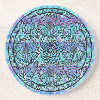 Dessous De Verre En Grès Fleurs pourpres bleues de mandala de tournesol de