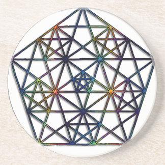 Dessous De Verre En Grès Fractale sacrée de la géométrie d'abondance de la