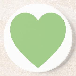 Dessous De Verre En Grès Grand coeur vert