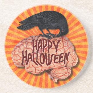 Dessous De Verre En Grès Halloween - Raven déplaisant sur le cerveau