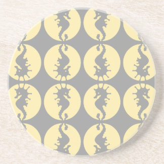 Dessous De Verre En Grès Hippocampes dans jaune et le gris