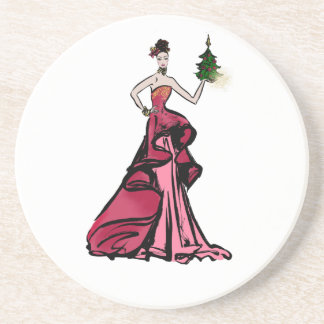Dessous De Verre En Grès Illustration de mode de Noël avec l'arbre