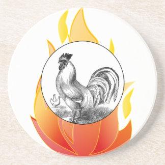 Dessous De Verre En Grès Illustration vintage de coq du feu