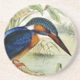 Dessous De Verre En Grès Illustration vintage d'oiseau de martin-pêcheur