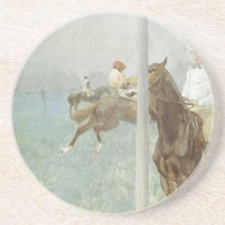 Dessous De Verre En Grès Jockeys devant la course par Edgar Degas