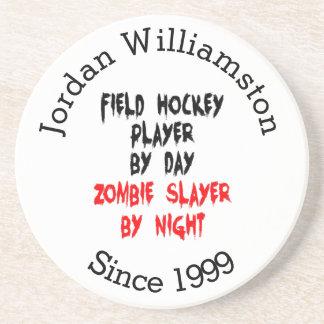 Dessous De Verre En Grès Joueur de hockey de champ de tueur de zombi
