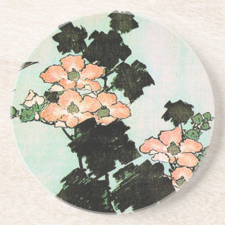 Dessous De Verre En Grès Katsushika Hokusai (葛飾北斎) - ketmie et moineau