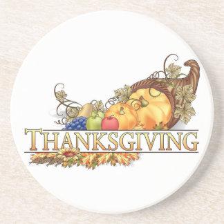Dessous De Verre En Grès Klaxon de bon thanksgiving d'abondance