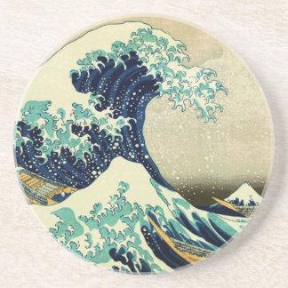 Dessous De Verre En Grès La grande vague outre de Kanagawa (神奈川沖浪裏)