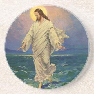 Dessous De Verre En Grès La religion vintage, Jésus-Christ marche sur l'eau
