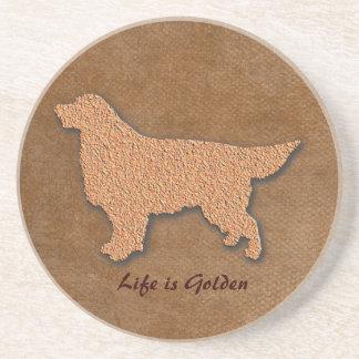 Dessous De Verre En Grès La vie de chien de golden retriever est d'or