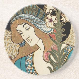 Dessous De Verre En Grès L'art vintage Nouveau, esquinte des publications