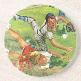Dessous De Verre En Grès Le cru folâtre le base-ball, jeu d'équipes