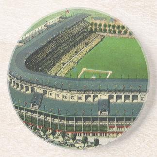 Dessous De Verre En Grès Le cru folâtre le stade de base-ball, vue aérienne