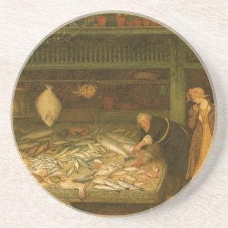Dessous De Verre En Grès Le magasin d'un poissonnier par le marcheur de