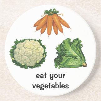 Dessous De Verre En Grès Légumes vintages ; Carottes, chou-fleur, laitue