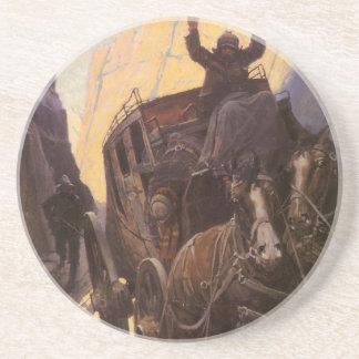 Dessous De Verre En Grès Les cowboys vintages, supportent dans le canyon