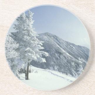 Dessous De Verre En Grès Les USA, NH, neige ont couvert des traînées