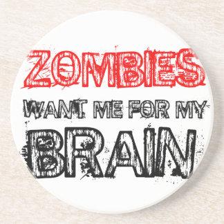 Dessous De Verre En Grès les zombis me veulent pour mon cerveau