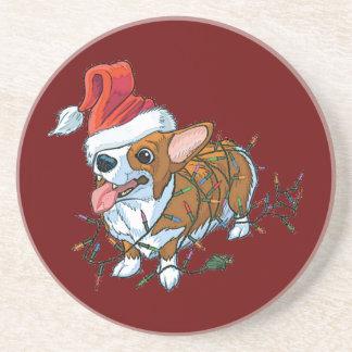 Dessous De Verre En Grès Lumières de Noël de Noël de chiot de corgi de