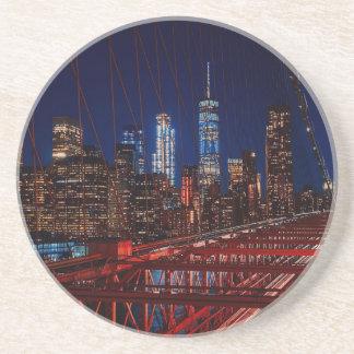 Dessous De Verre En Grès Lumières de nuit de New York City de pont de