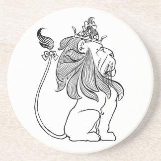 Dessous De Verre En Grès Magicien d'Oz vintage, lion lâche avec la couronne