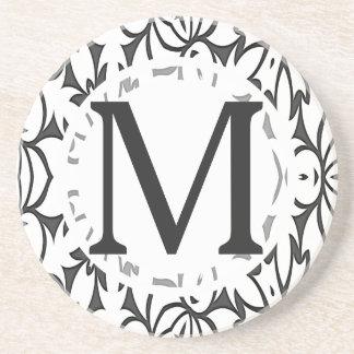 Dessous De Verre En Grès Motif AUDACIEUX gris-foncé et blanc