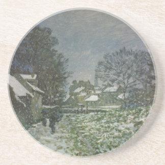 Dessous De Verre En Grès Neige à Argenteuil par Claude Monet, art vintage