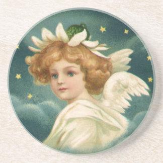 Dessous De Verre En Grès Noël vintage, ange victorien avec des étoiles d'or