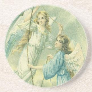 Dessous De Verre En Grès Noël vintage, anges victoriens avec une Bell