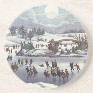 Dessous De Verre En Grès Noël vintage, Central Park en hiver