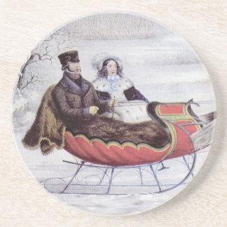 Dessous De Verre En Grès Noël vintage, l'hiver de route, cheval de Sleigh