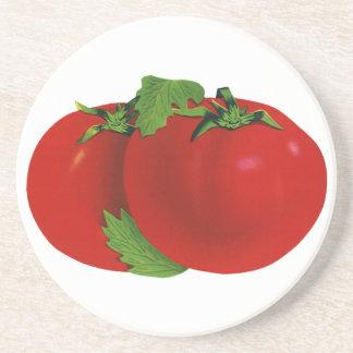 Dessous De Verre En Grès Nourritures vintages, tomate mûre rouge organique
