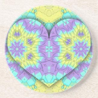 Dessous De Verre En Grès Pastel de fête vibrant 3d en forme de coeur.
