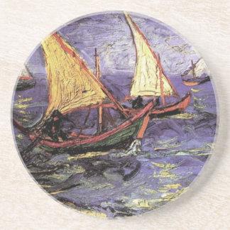 Dessous De Verre En Grès Paysage marin de Van Gogh chez Saintes Maries,