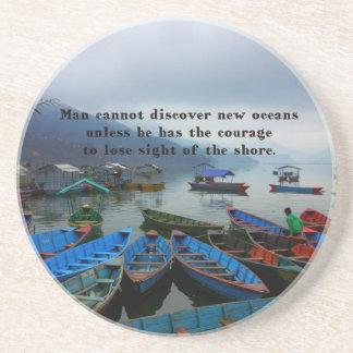 Dessous De Verre En Grès Photo inspirée de bateau de DÉCOUVERTE de citation