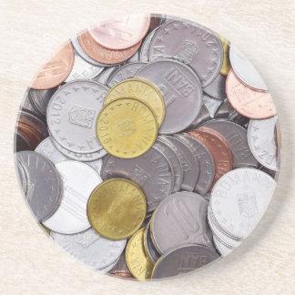 Dessous De Verre En Grès Pièces de monnaie roumaines de devise