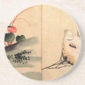 Dessous De Verre En Grès Poissons plats et rose par Katsushika Hokusai