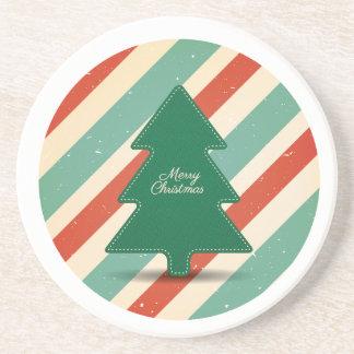 Dessous De Verre En Grès Rétro conception de Noël avec l'arbre et les