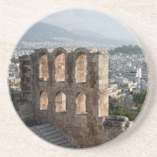 Dessous De Verre En Grès Ruines antiques d'Acropole donnant sur Athènes