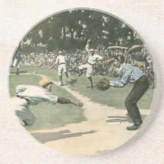 Dessous De Verre En Grès Sports vintages, joueur de baseball glissant dans