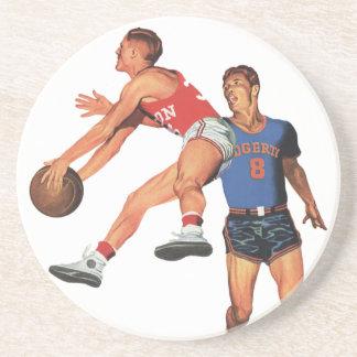 Dessous De Verre En Grès Sports vintages, joueurs de basket d'hommes avec